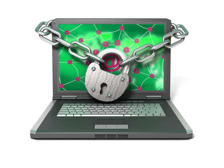 Laptop with lock and chain  photo