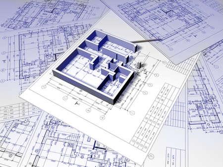 planos arquitecto: Dibujo de plano 3D