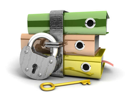 3D illustration of the image of a folder with the lock on a white background  Stock Illustration - 11325742