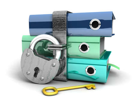 3D illustration of the image of a folder with the lock on a white background Stock Illustration - 11325751