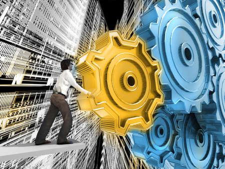 mechanical energy: Businessman Turning a Gear