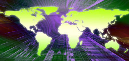 world map technology-style Stock Photo - 11592856