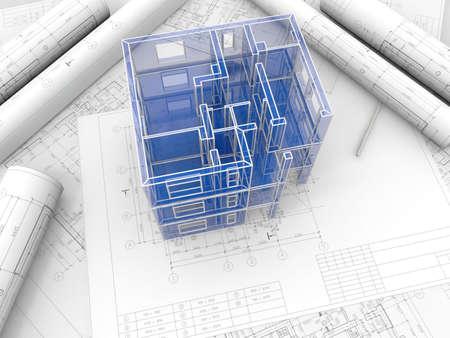 도면에 따라 만들어진 건물의 브레드 보드 모델