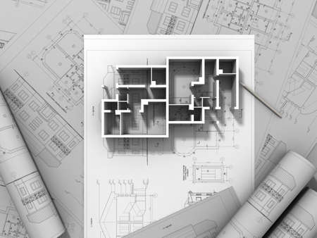 architect office: 3D plan drawing