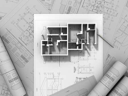 office plan: 3D plan drawing