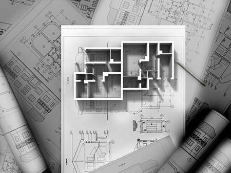 cad drawing: 3D計劃圖 版權商用圖片