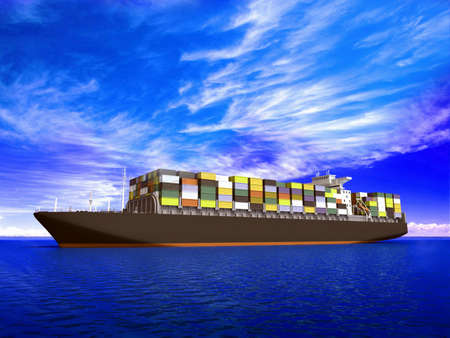 loading cargo: Large container ship Stock Photo