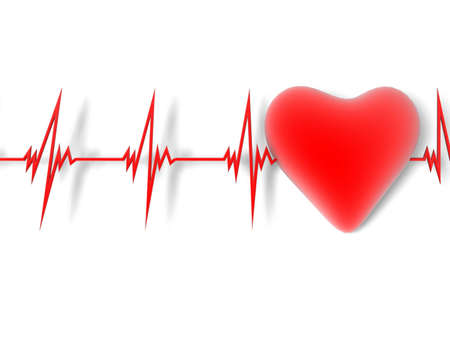 heart beat: heart and heartbeat symbol Stock Photo