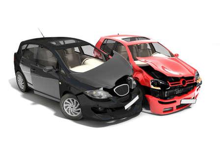 Geïsoleerde Crashed Cars Stockfoto