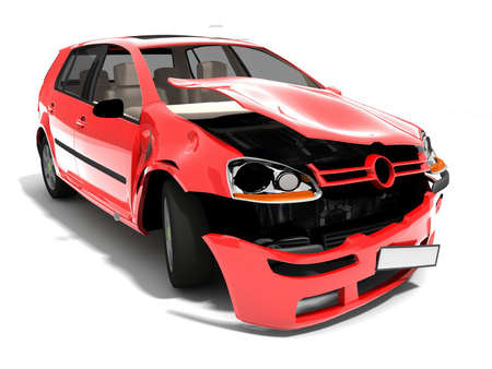 Geïsoleerde Crashed Car Stockfoto