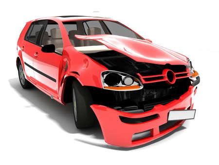 Isolated Crashed Car     Stock Photo