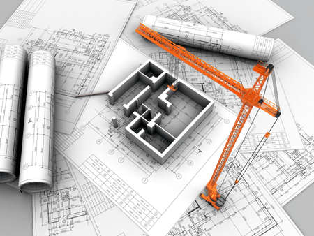 3D plan drawing Stock Photo - 12558600