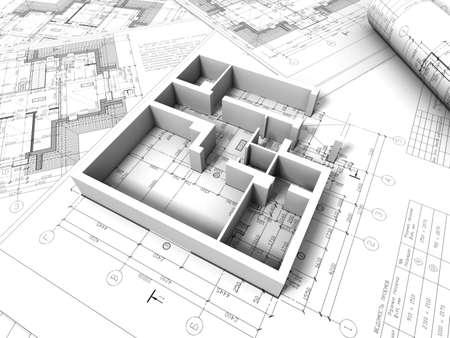 3D Plan Drawing Stock Photo   12559796