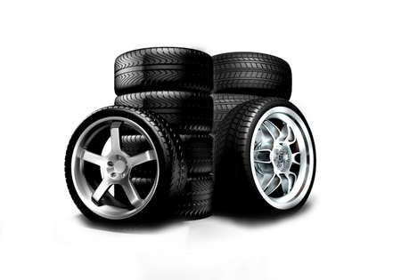 stacked: Isolated wheels on white background