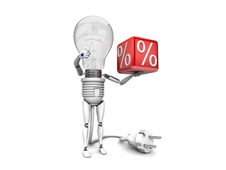 The robot bulb Holds in a hand percent sign and show ok  isolated on a white background photo