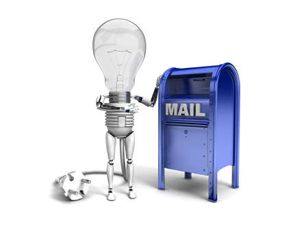 The robot bulb leans on mail box and show ok isolated on a white background photo