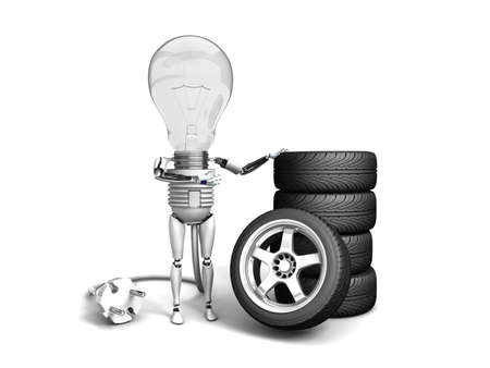 The robot bulb leans on new wheels and show ok  isolated on a white background photo