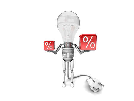 The robot bulb Holds in a hands percent signs isolated on a white background photo