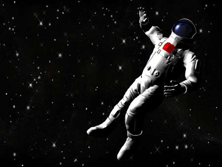 The astronaut on in an outer space against stars photo