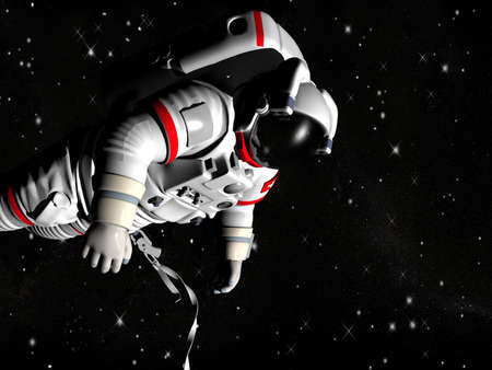 flight helmet: The astronaut on in an outer space against stars