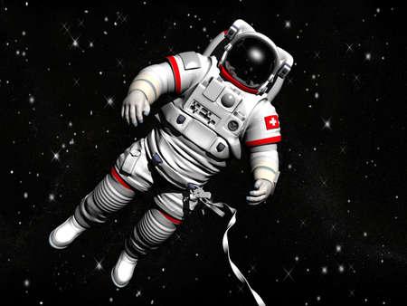 L'astronauta su in uno spazio esterno contro le stelle