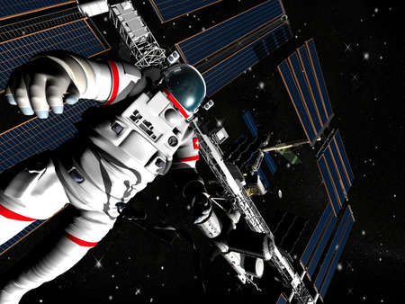 The astronaut and flying modern satellite in outer space photo