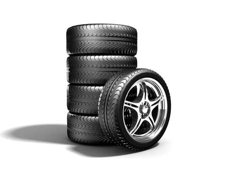 pneumatic: Wheels isolated on white. 3d illustration.