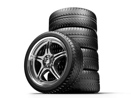 aluminum wheels: Wheels isolated on white. 3d illustration.