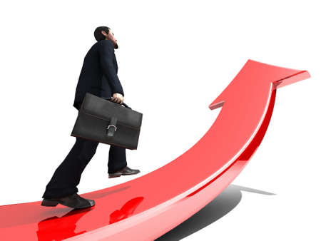 business success: Businessman towards arrow pointing up direction overcome of economy recession concept 3d illustration