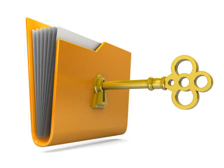 Data security. 3d illustration of folders closed isolated on white. Stock Illustration - 15218490