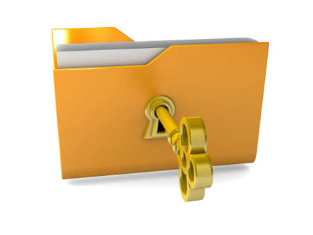 Data security. 3d illustration of folders closed isolated on white. Stock Illustration - 15218474