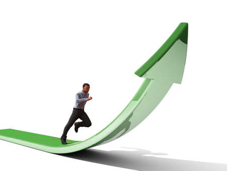 cultivate: Businessman towards arrow pointing up direction overcome of economy recession concept 3d illustration