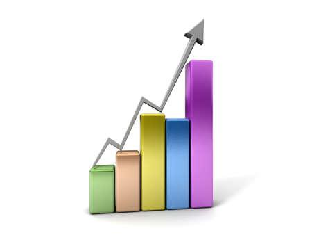 Business Graph with arrow showing profits and gains  Stock Photo - 17268320