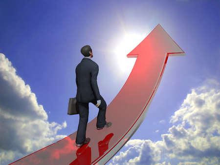 towards: Businessman towards arrow pointing up direction overcome of economy recession concept 3d illustration