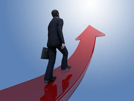 recession: Businessman towards arrow pointing up direction overcome of economy recession concept 3d illustration