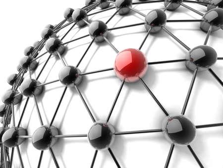 chrome ball: Metaphor of communication. 3d illustration. Concept.
