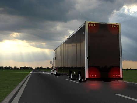 Rode vrachtwagen op onscherpe asfalt weg over blauwe bewolkte hemel achtergrond