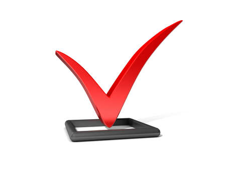 primaries: Checkbox with red checkmark isolated on white  Stock Photo