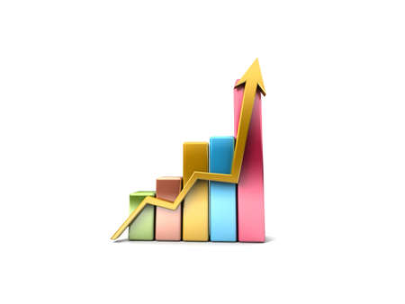 Business Graph with arrow showing profits and gains  Stock Photo