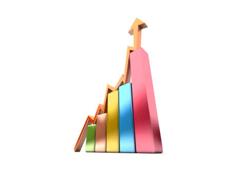 Business Graph with arrow showing profits and gains  Stock Photo - 17268565