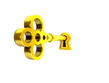 3D render of a golden key on keyhole.  photo