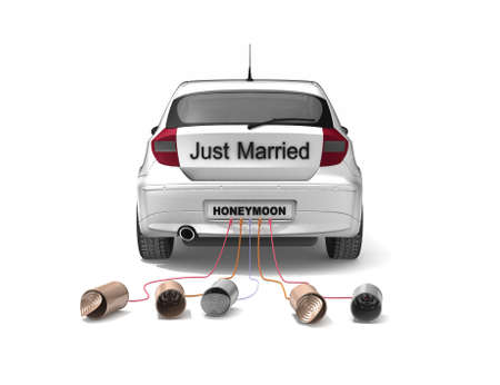 bumper: Just Married car Stock Photo