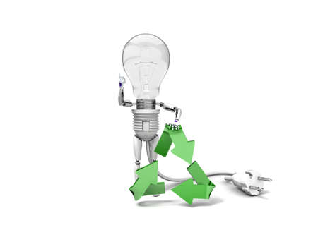The robot bulb leans on recycling symbol and show ok  isolated on a white background photo
