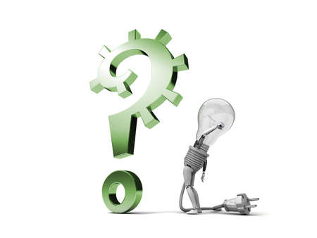 The robot bulb perplexedly looks at a question mark isolated on a white background photo