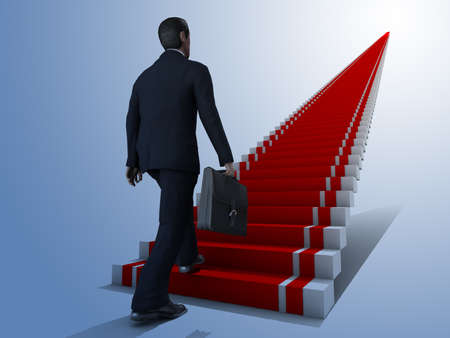 Business man climbs up to the top of 3D success stairs steps  photo