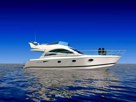 Luxe boot in het midden van de oceaan Stockfoto