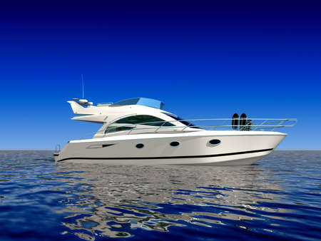 boat deck: Luxury boat in the middle of the ocean