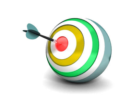 achieved: Dart right on the target  Stock Photo