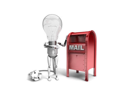 electricity post: The robot bulb leans on mail box and show ok isolated on a white background Stock Photo