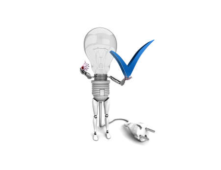 The robot 'bulb' Holds in a hand 'yes' sign and show 'ok'  isolated on a white background photo